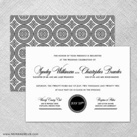 Park Avenue 4 Invitation Shown With Back Printing