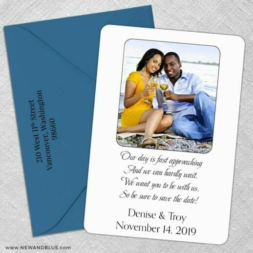 Poem 5 Save The Date With Optional Color Envelope