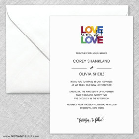 Rainbow Love 2 Invitation And Envelope