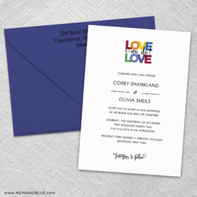 Rainbow Love 3 Invitation And Color Envelope
