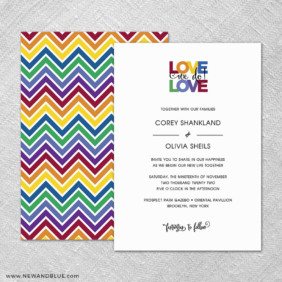 Rainbow Love 4 Invitation Shown With Back Printing
