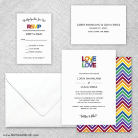 Rainbow Love 5 Wedding Invitation And Rsvp Card