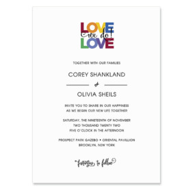 Rainbow Love Invitation Shown In Color Black