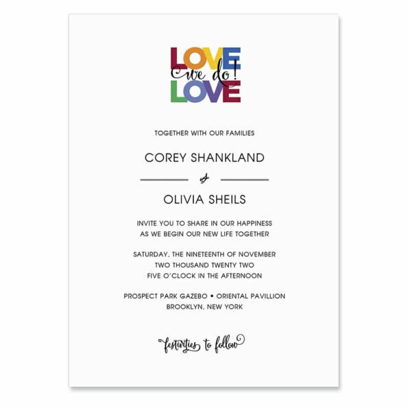 Rainbow Love Invitation Shown In Color Black