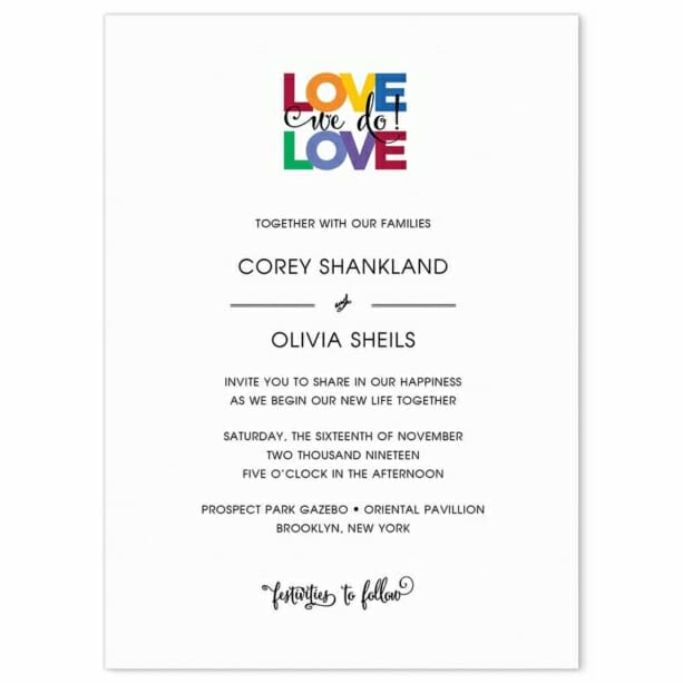 Rainbow Love Wedding Invitation