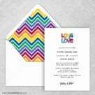 Rainbow Love Wedding Invitation With Envelope Liner