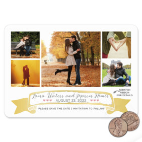 Ribbon Romance V2 1 Scratch Off Save The Date Magnet