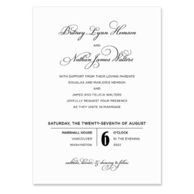 Rivershore Invitation Shown In Color Black