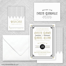 Rockefeller 5 Wedding Invitation And Rsvp Card