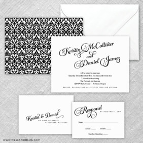 Romance 5 Wedding Invitation And Rsvp Card