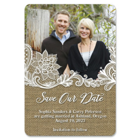 Rustic Lace 1 Save The Date Magnets