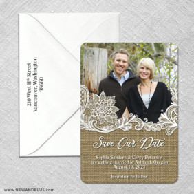 Rustic Lace 3 Save The Date With Optional Color Envelope