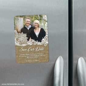 Rustic Lace 4 Refrigerator Save The Date Magnets