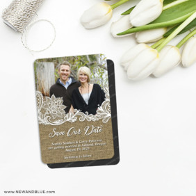 Rustic Lace 5 Save The Date Fridge Magnet