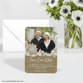 Rustic Lace 6 Wedding Save The Date Magnets With Envelope