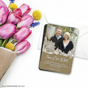 Rustic Lace 7 Wedding Save The Date Magnet
