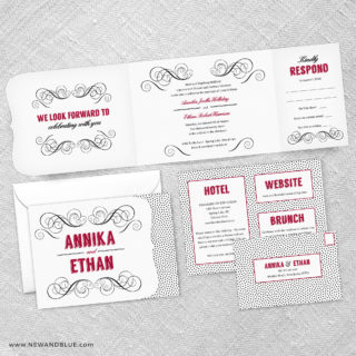 Scarlette Combined All In One Wedding Invitation