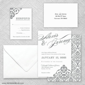 Signature 5 Wedding Invitation And Rsvp Card