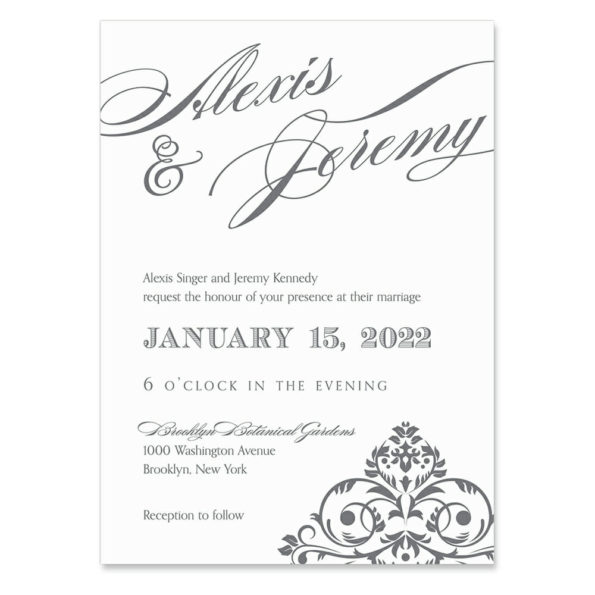 Signature Invitation Shown In Color Gray