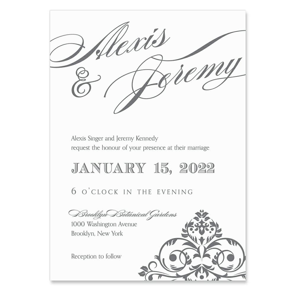 Signature Invitation Shown In Color Gray