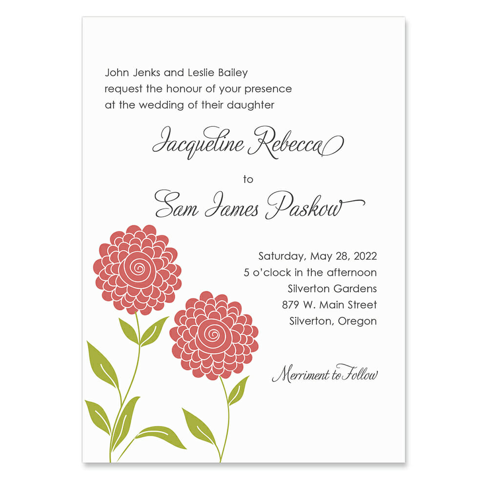Silverton Invitation Shown In Color Orange