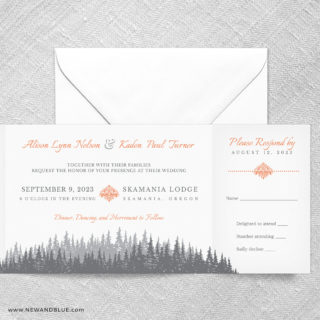 Skamania All In One Wedding Invitation With RSVP Postcard
