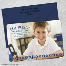 Solomon Bar Mitzvah 5 Save The Date With Optional Color Envelope