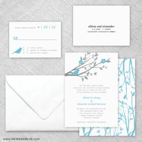 Songbird 5 Wedding Invitation And Rsvp Card