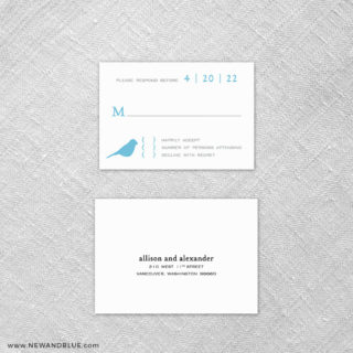 Songbird 6 Reception Card And Rsvp Card