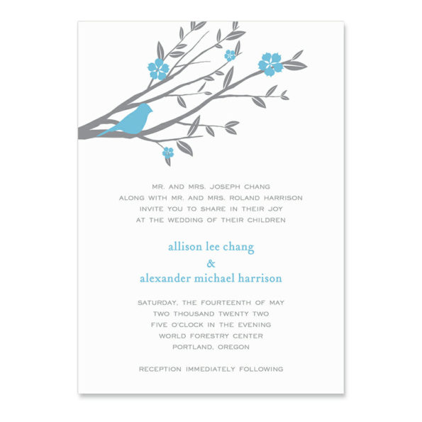 Songbird Invitation Shown In Color Teal