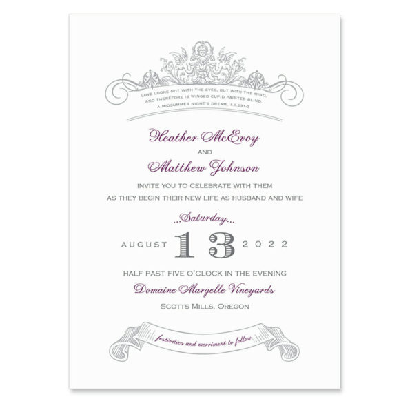 Sonnet Invitation Shown In Color Purple