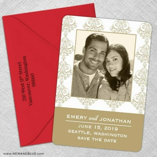 Sorrento 5 Save The Date With Optional Color Envelope