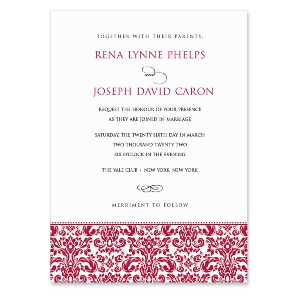 Sorrento Invitation Shown In Color Red