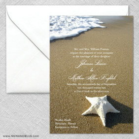 Starfish By The Sea 2 Invitation And Envelope