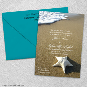 Starfish By The Sea 3 Invitation And Color Envelope