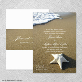 Starfish By The Sea 4 Invitation Shown With Back Printing
