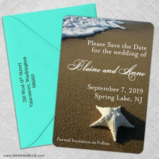 Starfish By The Sea 5 Save The Date With Optional Color Envelope