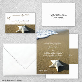 Starfish By The Sea 5 Wedding Invitation And Rsvp Card