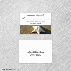 Starfish By The Sea 6 Reception Card And Rsvp Card