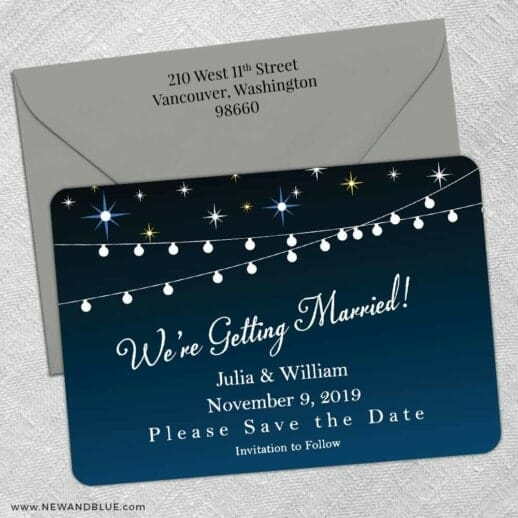 String Of Lights 5 Save The Date With Optional Color Envelope