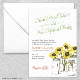 Sunflower 2 Invitation And Envelope