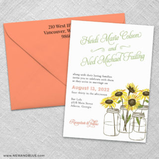 Sunflower 3 Invitation And Color Envelope