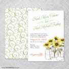 Sunflower 4 Invitation Shown With Back Printing
