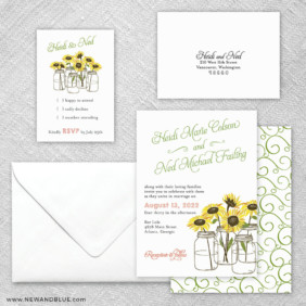 Sunflower 5 Wedding Invitation And Rsvp Card