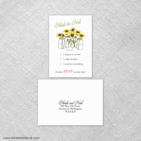 Sunflower 6 Reception Card And Rsvp Card
