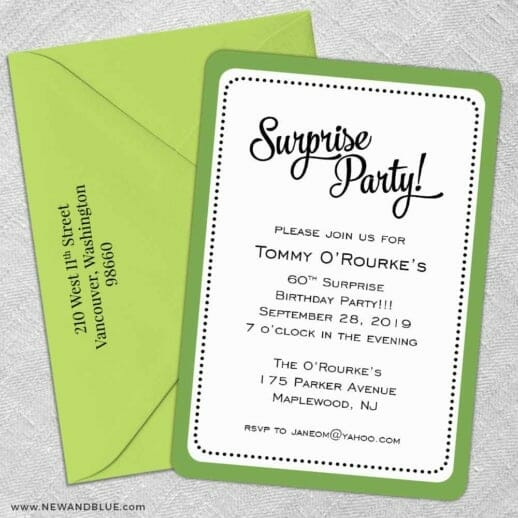 Surprise Party 5 Save The Date With Optional Color Envelope