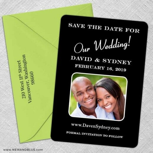The Big Day 5 Save The Date With Optional Color Envelope