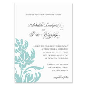 Thistle Invitation Shown In Color Teal