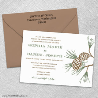Timberline 3 Invitation And Color Envelope