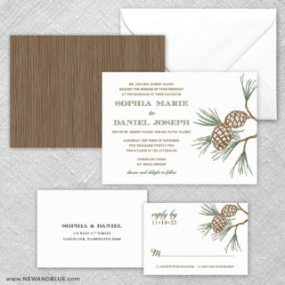 Timberline 5 Wedding Invitation And Rsvp Card